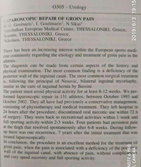 2004: Δημοσίευμα στο American journal of Sports Medicine για την 1η λαπαροσκοπική αποκατάσταση ηβαλγίας από τον Μ. Γενίτσαρη